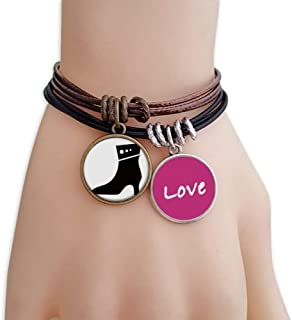 Simple Graphics High Heels Black Silhouette Love Bracelet Leather Rope Wristband Couple Set
