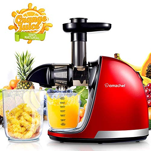 AMZCHEF Juicer, Slow Masticating Juicer Extractor Professional Machine with Quiet Motor/Reverse Function/Easy to Clean with Brush for Fruit & Vegetable Juice (Renewed)