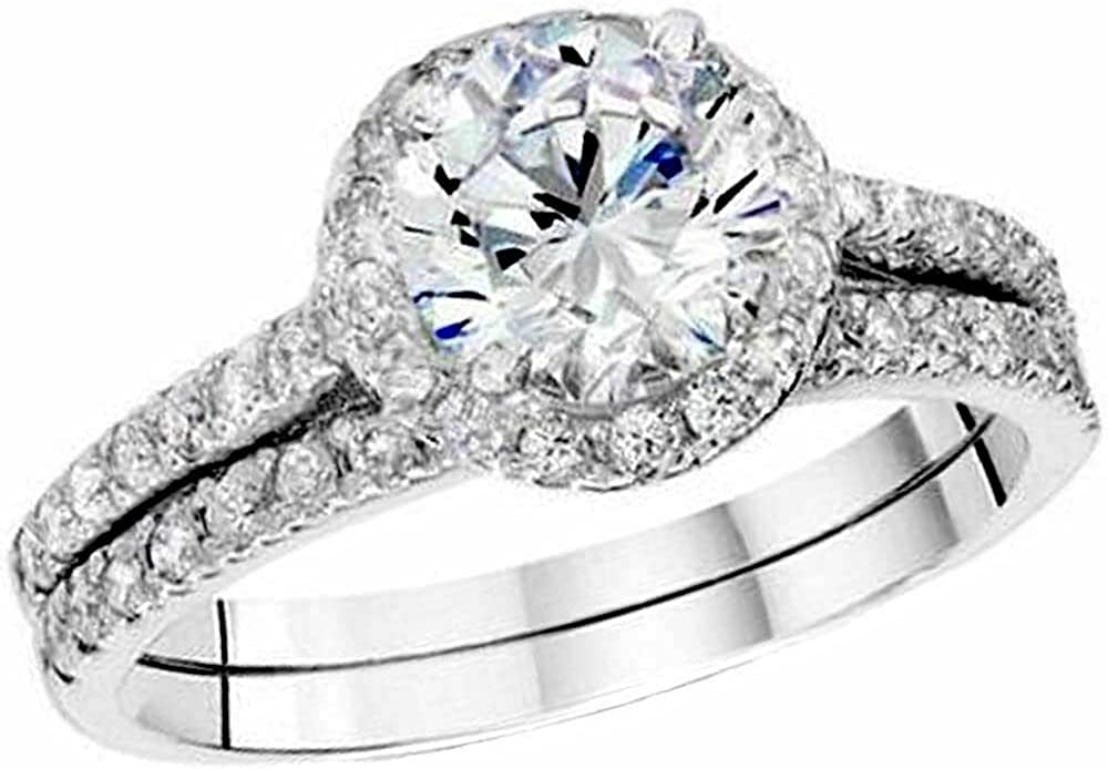 Our shop OFFers the best service Ritika Created Round Cut Mail order cheap White Diamond Silver Sterling 925 14K W