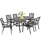 SUNCROWN 7-Piece Outdoor Wrought Iron Chairs and Table Patio Dining Furniture Set - 6 Stackable Metal Chairs and 1 Rectangular Steel Slat Bistro Table with 1.57' Umbrella Hole for Garden Backyard Deck