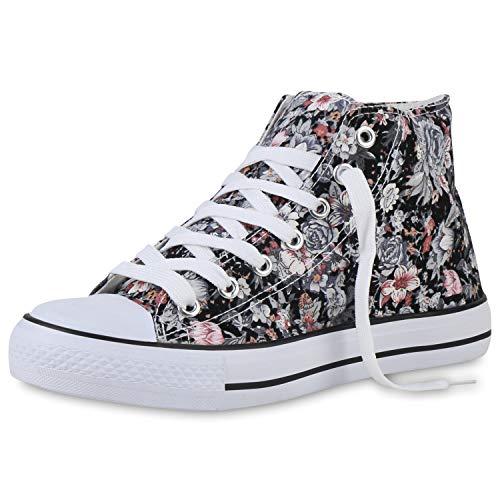 SCARPE VITA Damen Sneaker High Stoff Schuhe Prints Freizeit-Schuhe Schnürer Blumen Schnür-Schuhe Stoff-Schuhe 196454 Schwarz Grau Weiss Muster 38