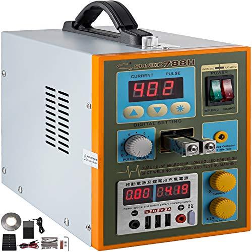 Mophorn 788H-USB Pulse Spot Welder 0.25mm Battery Welding Machine 110V Battery Spot Welder & Soldering Station Portable Pulse Welding Machine For Battery Pack 18650 14500 Lithium Batteries