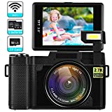 Digital Camera with WiFi 24MP 2.7K HD Video Camcorder 3.0 Inch Flip Screen Vlogging Camera with Flashlight,...