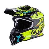 O'NEAL   Casco de Motocross   MX Enduro   ABS Shell, Estándar de Seguridad ECE 2205, Óptima ventilación y refrigeración   Casco 2SRS Villian Youth   Niños   Amarillo Neón   Talla M