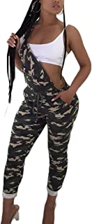 Glosun Womens Casual Camouflage Bib Overall Slim Fitted Long Pants Jumpsuit