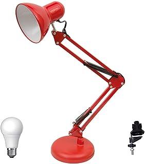 Flexo Antígona Articulable Rojo Con Bombilla LED