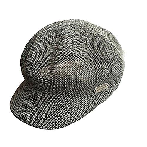 Chytaii Gorra Sombrero de Sol en Yute con Borde Large Unisex Anti-Soleil UV Sombrero de Playa Viaje Protección Solar en Verano Gris Gris 56-58cm