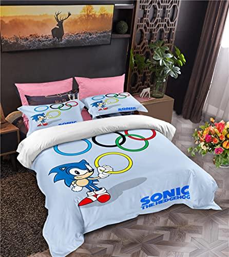 Juego De Cama 3 Piezas Microfibra Suave 200 X 200 Cm Sonic Anime Dibujos Animados Fundas Nordicas Cama 200 Funda Nordica con 2 Piezas Funda De Almohada