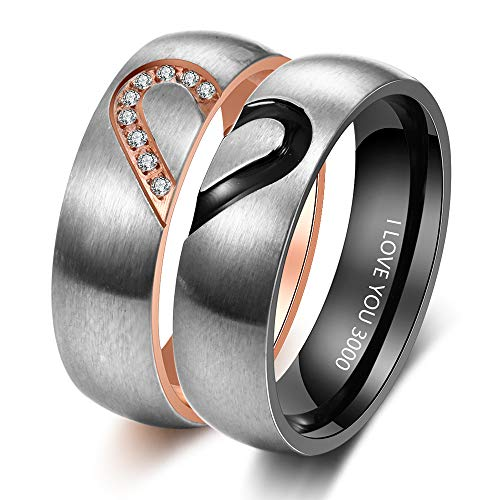 Personalised Couples Rings Set for Him and Her Promise Rings for Couples Free Engraving Stainless Steel Engagement Rings for Couples Valentines Day Jewelry