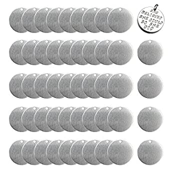50 PCS Stamping Blank Tags,Round Blank Tags,1 Inch Round with Hole Aluminum 0.06 Inch Thickness Blanks Tags for Necklace Bracelet Jewelry Making