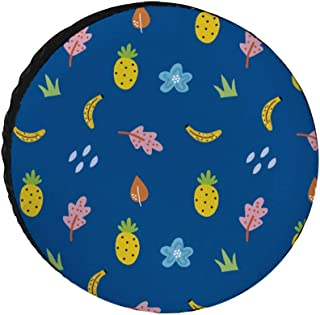 HASKAS Spare Tire Cover, Pineapple Banana Flower Car Tire Cover Universal Sunscreen Waterproof Wheel Covers for Jeep Trail...