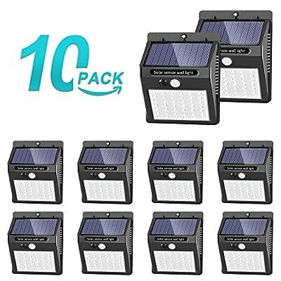 Solar Lights Outdoor [42 LED/3 Working Mode], SEZAC Solar Security Lights Solar Motion Sensor Lights Wireless IP 65 Waterproof Outdoor Lights for Garden Fence Patio Garage (10 Pack)