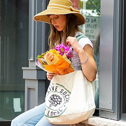 Farmers Market Tote, Reusable Cotton Grocery Bag, Washable Eco...