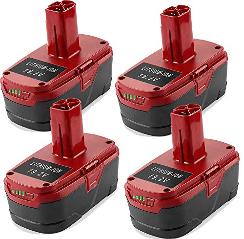 4 Packs 5.0Ah 19.2V Lithium-ion Battery Replacement for 19.2 Volt Craftsman DieHard C3 Battery XCP 130279005 1323903 130211004 11045 315.115410 315.11485 Cordless Batteries