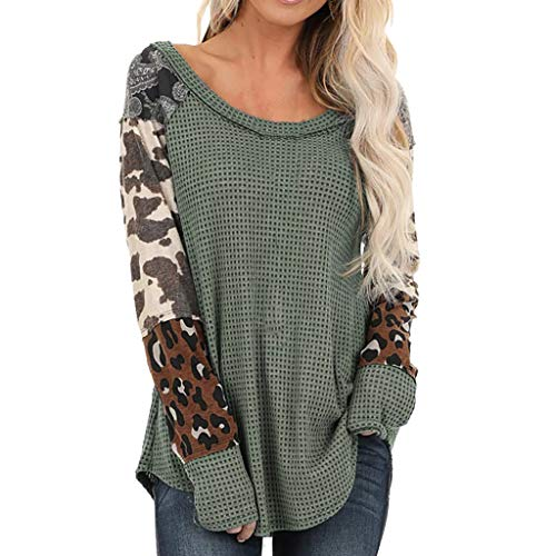 Auifor Vrouwen Dames Luipaard Patchwork Print Lange mouwen casual wilde trui bovenkant hemden blouse
