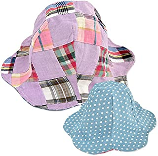 よつば洋品店オリジナル リバーシブルチューリップハット (50cm/パープル×サックススター) 【QO-YY130】 キッズ用 子供用 帽子