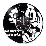 Gift Idea For Kids Mickey Mouse Handmade Children Room Decor Disney Cartoon dDesign Walt Disney Mickey Mouse Vinyl Record Wall Clock Modern