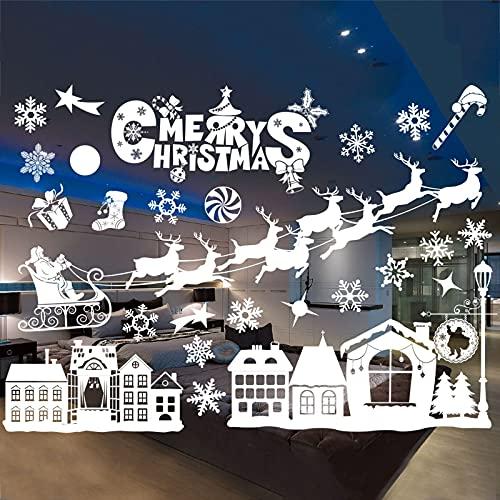 PMSMT Copos de Nieve navideños creativos adheridos con decoración de Ventana de Pared Decorativa 2 Piezas decoración de calcomanías para el hogar Papel Tapiz de año Nuevo Blanco