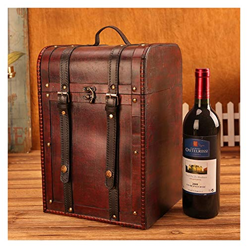 YC-Caja de Regalo Vintage Caja de Vino Tinto de Madera 4 palitos Vino Rojo Protección Fija Transporte Tinto Botella de Vino Regalo Red Wine Wine Boxaging (Color : 23.5x22x35CM)