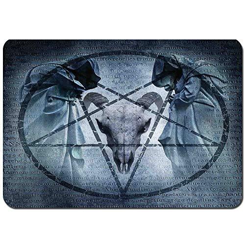 Wdoci Alfombrilla de baño.Antideslizante,Obra de Arte con Imagen de Exorcista Encapuchado del sueño del Diablo del cráneo de Cabra Pentagram Alfombra de Ducha(75cmx45cm)