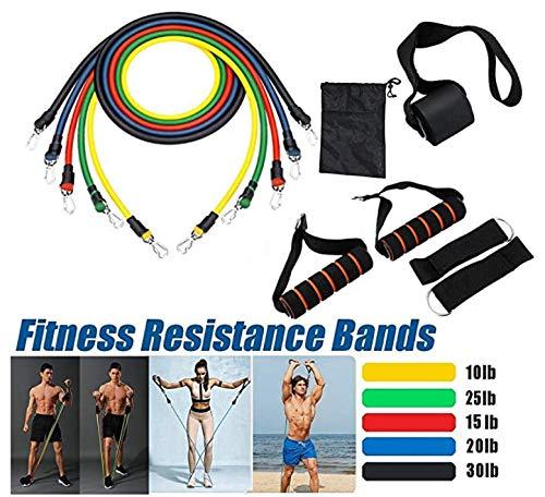 Mannen anti-trek-riem 11 sets van fitness oefening riemen, met deuranker draagbare home fitnessapparatuur 5 fitness oefening riemen