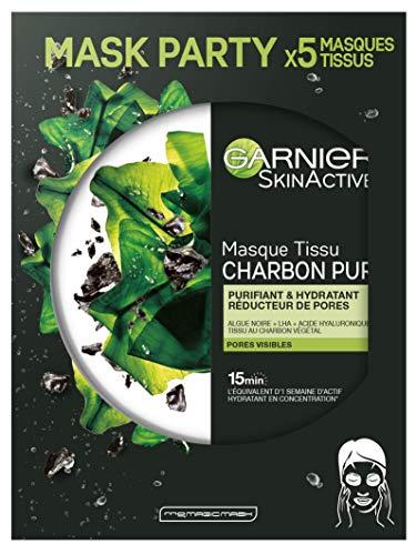 Garnier - SkinActive - Masque Tissu Charbon Végétal - Purifiant et Hydratant - Lot de 5