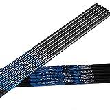 ACCMOS Carbon Arrow Shaft ID 4.2mm 31/32 Inch Spine 350 Arrow Accessory Archery Recurve Bow Shooting Hunting Arrow DIY 12pcs (32' Blue, 350 Spine)
