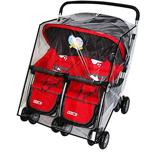 Side by Side Twins Stroller Raincover, Rainproof Dustproof Windproof Pushchair Stroller Buggy Pram Large Throw Over Rain Cover Windshield with Canopy and Zipper Door for Double Carrycots Prams