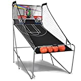 GYMAX Dual Shot Basketball Arcade Game, Folding Electronic Basketball...