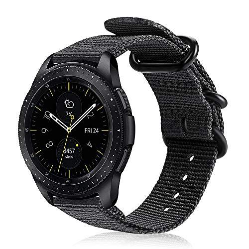 FINTIE Cinturino Compatible con Galaxy Watch 42mm/Galaxy Watch Active/Active 2/Gear Sport/Gear S2 Classic/Huawei Watch 2, 20mm Morbido Nylon Sport Regolabile Wrist Bands con Fibbia Metallica,Nero