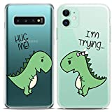 Cavka TPU Couple Cases for Samsung Galaxy Note 10 Plus 5G S10 A50 A10e S7 S8 Green Cute Dinosaurs Fancy Matching Hug Me Adorable Silicone Cover Clear Flexible Women Print Girlfriend