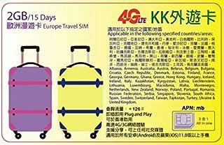【KK】ヨーロッパ 49ヶ国 4G-LTE/3G 15日間 2GB データ通信 SIMカード Europe Travel SIM Card 外遊カード
