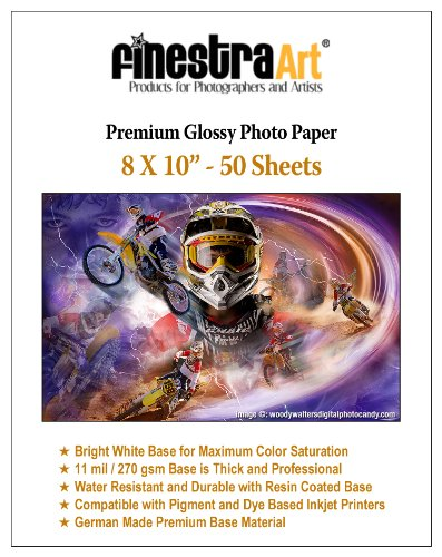 "8"" X 10"" Premium Glossy Inkjet Photo Paper - 50 Sheets"