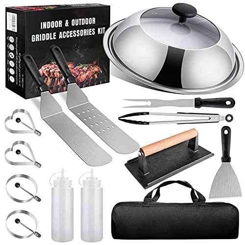 AClocod Griddle Accessories Kit for Blackstone,12 Inch Visible Basting Cover Cheese Melting Dome with Cast Iron Burger Bacon Press,Flat Top Griddle Grill Spatula for Indoor,Outdoor,Camping or Cooking