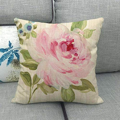 LPLH Watercolor Oil Painting Rose Chrysanthemum Camellia Linen Pillowcase and Other 049-9_45*45cm