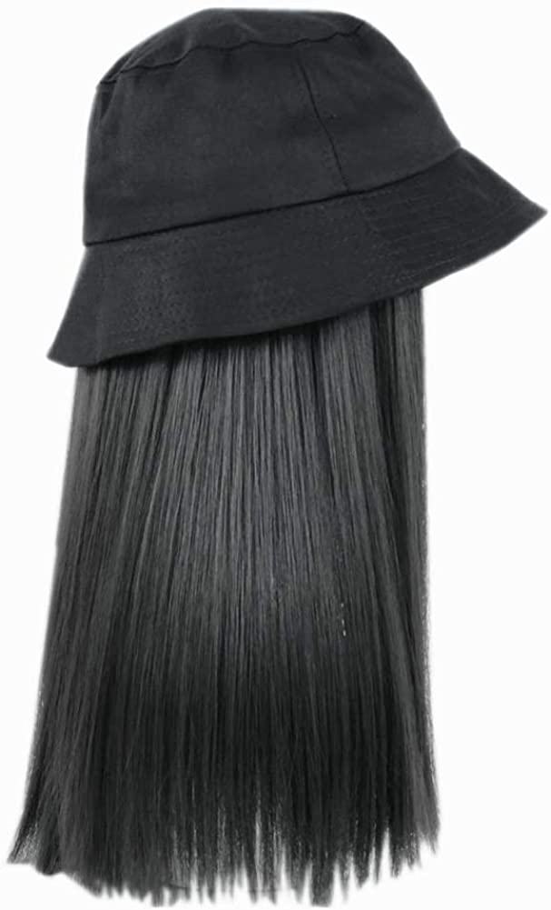 Women's Bucket Hats with Hair Extension Attached Bucket Hat Long Straight Wig Corn Wig Curly Hair
