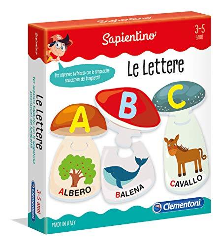 Clementoni Sapientino Le Lettere, gioco per imparare le lettere, puzzle incastro bambini, tessere illustrate, gioco educativo 3 anni, Made in Italy, 11964