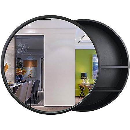 SDK Round Bathroom Mirror Cabinet, Bathroom Wall Storage Cabinet Sliding Mirror Medicine Cabinet with Steel Gliding Stainless Wooden Frame 3 Level (Color : Black, Size : Ø50CM)