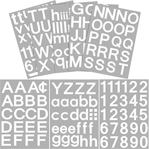 202 Stücke 8 Blätter Selbstklebend Vinyl Buchstaben Nummern Kit, Mailbox Nummern Aufkleber für Schilder, Fenster, Tür, Autos, Lastwagen, Haus, Adressnummer (Weiß, 2 Zoll)