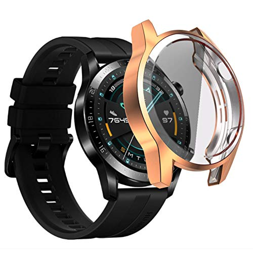 Case Compatible with Huawei GT 2 46mm Smartwatch Full Cover Case Screen Protector, Soft Plated TPU Scratch Resistant Slim All-Around Protective Case (Rose Gold, 46mm)
