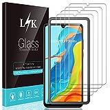 L K 4 Pièces Protection Écran pour Huawei P30 Lite, Huawei P30 Lite Verre Trempé [9H Dureté] [Courbe 3D] [Couverture Complète] [Garantie de Remplacement à Durée de Vie] Film Protection