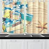 Reopx Postales de Vacaciones en Arena Estrella de mar Cortinas de Cocina Cortinas de Ventana Niveles para café, baño, lavandería, Sala de Estar Dormitorio 26 x 39 Pulgadas 2 Piezas