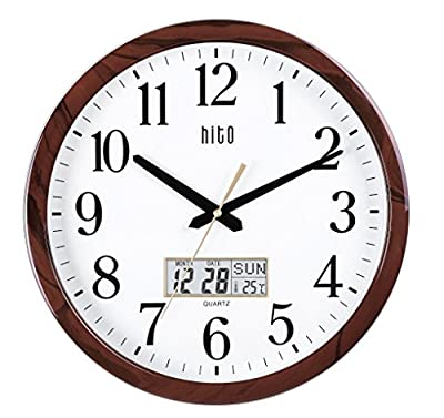 HITO Extra Large Silent Non-ticking Wall Clock- Glass Cover