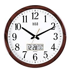 hito Silent Wall Clock Non Ticking 15 inch Date Day Indoor Temp Excellent Accurate Sweep Movement Glass Cover, Decorative for Kitchen, Living Room, Bedroom, Office, Classroom (15 inches, Wood+ LCD)
