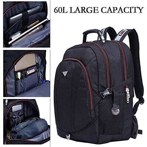FreeBiz Stoßfest 60L Wasserdicht 18,4 Zoll Notebooktasche Laptop Rücksack Passend für bis zu 18 Zoll Gaming Laptops für Dell, Asus, MSI (Schwarz) mit eine regenfeste Tasche und USB Steckdose (60L)