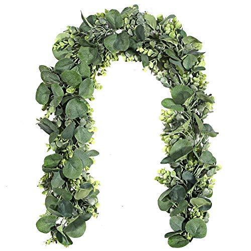 Gintan 2 Stück künstliche silberdollar eukalyptusblätter, kunstpflanzen Girlande aus Kunstseide, künstliche eukalyptusblätte für Hochzeit Bogen Hausgarten