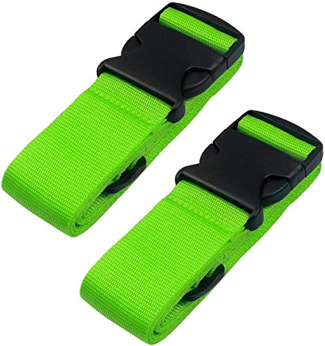 2-Pack Travel Belt Luggage Straps for Bags Suitcases Strong Adjustable Stripes Additional Securing for Luggage Necessary Travel Accessories (Green)