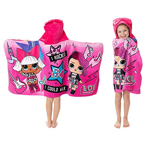 """L.O.L. Surprise! Soft Cotton Hooded Bath Towel Wrap 24"""" x 50"""" Pink"""