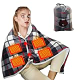 EEUK USB Heated Throw Blanket Shawl Battery Operated, Portable Heated Throw Electric Lap Blanket with 3 Heating Settings, Electric Ultra Soft Flannel Warm Cape for Car Office Chair-Washable Christmas