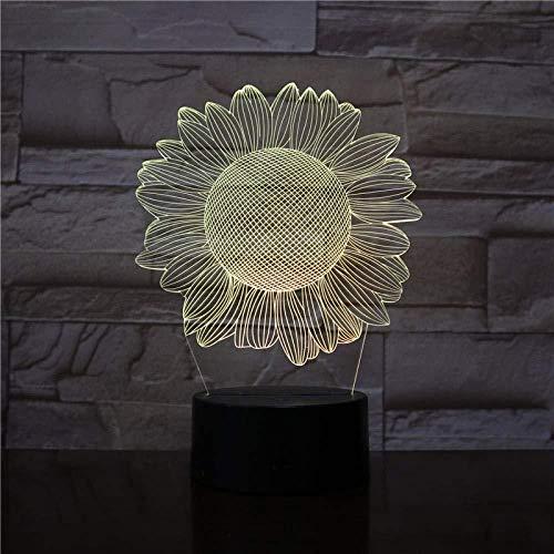 Ilusión 3D 7 Color Touch Sun Flower redlll 7 colores Decoración Luz de mesa Ilusión óptica Cambio con control remoto Regalos de cumpleaños para